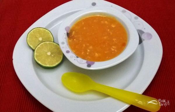 bebekler ve çocuklar için balıklı tarhana çorbası